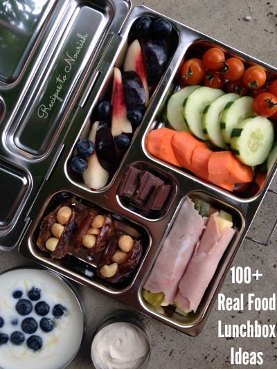 100+ Real Food Lunchbox Ideas ... eating on-the-go doesn't have to be complicated. Just stick to nourishing, unprocessed, real food. Click here for over 100 gluten free lunchbox ideas. | Recipes to Nourish