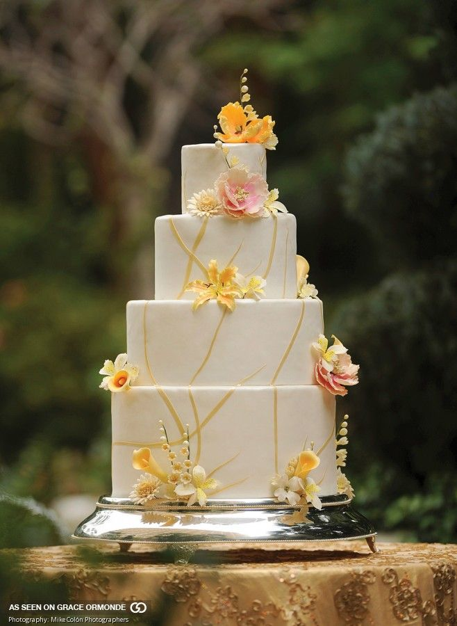 wedding cakes los angeles prices%0A Fondant embellished with handmade sugar flowers and gold sugar ribbons   Pastry Chef Federico Fernandez  Four Seasons Hotel Los Angeles at Be