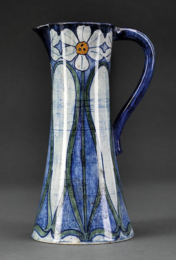 "Newcomb College - Pitcher. Painted & Glazed Pottery. Decorated by Ada Wilt Lonnegan. New Orleans, Louisiana. Circa 1901. 8-1/4""."