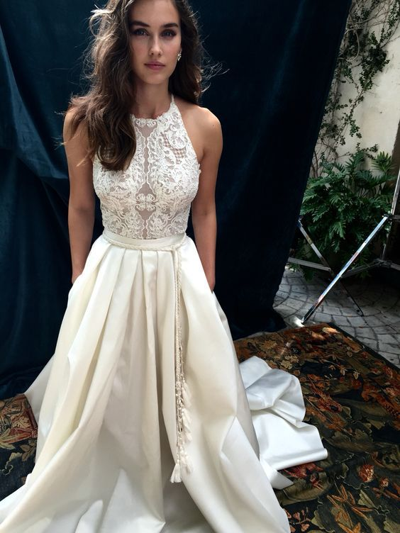 elegant a line lace wedding dress with pockets