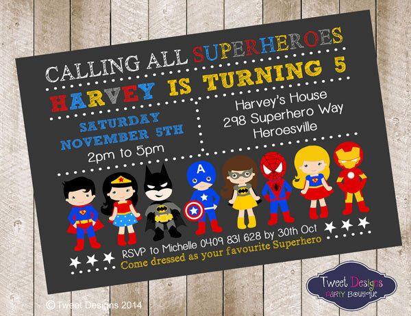SUPERHERO BOY Invitation, SUPERHERO Birthday Printable Invite, Batman Invitation, Superhero Boy Girl, Superhero Assorted Typography Invite by TweetPartyBoutique on Etsy https://www.etsy.com/listing/210489301/superhero-boy-invitation-superhero