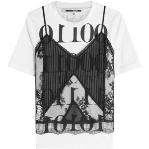 McQ Alexander McQueen Lace Cami and Cotton T-Shirt Top