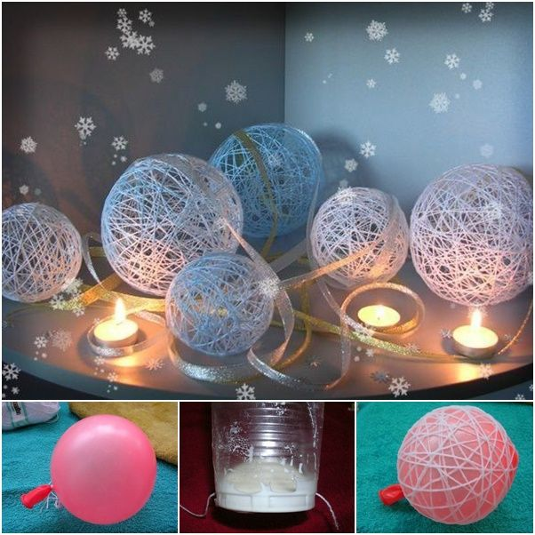 How to DIY Decorative Thread Christmas Balls