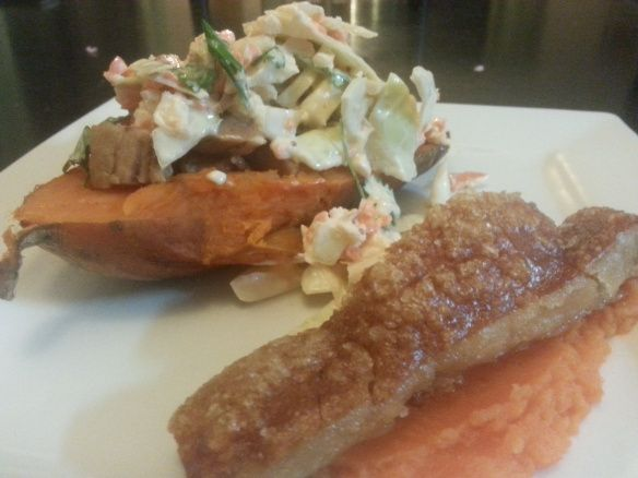 K for Kumara boats with maple-glazed pork belly and apple slaw