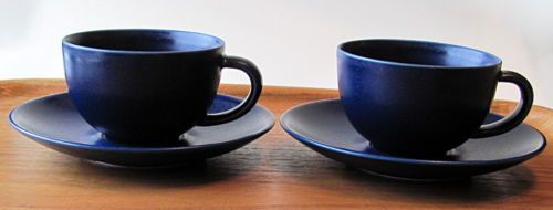 Set-of-Two-Arabia-Finland-24h-Coffee-Tea-Cup-and-Saucer-Blue-Heikki-Orvola