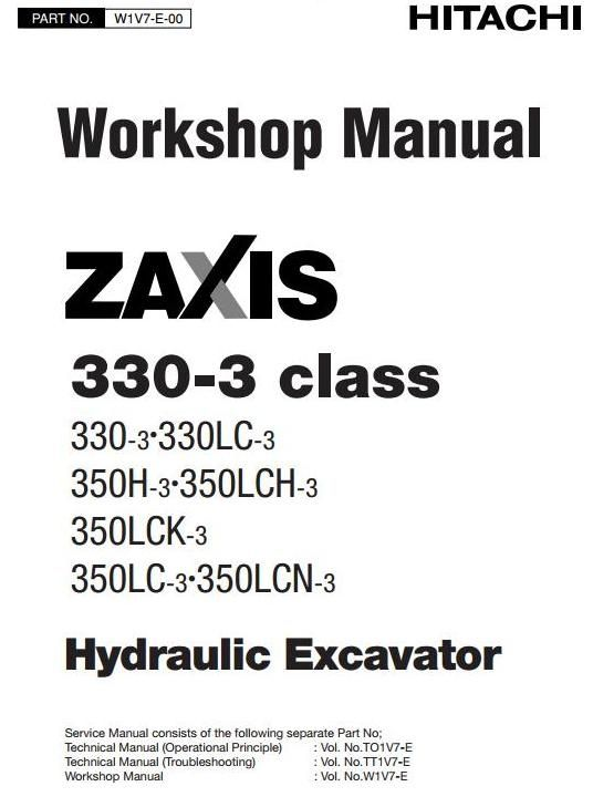 Full Original Illustrated Factory Workshop Service Manual for Hitachi Hydraulic Excavator Zaxis 330-3 Series.Original factory manuals for Hitachi Excavator Mashines, contains high quality images, circuit diagrams and instructions to help you to operate and repair your truck. All Manuals Printable a