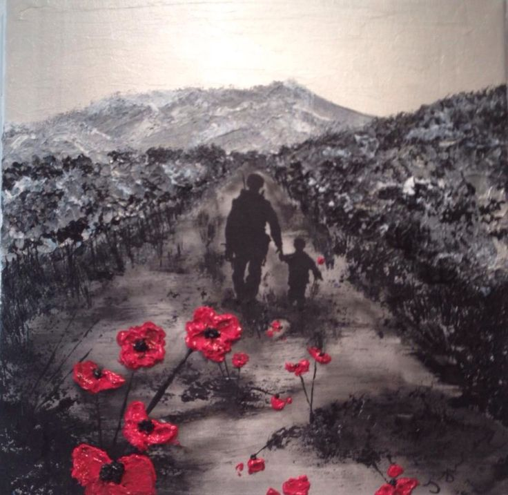 """By Jacqueline Hurley """"My Knight In Body Armour"""" War Poppy Collection No.6 Port Out, Starboard Home POSH Original Art THEY GAVE THEIR TOMORROWS FOR OUR TODAYS"""
