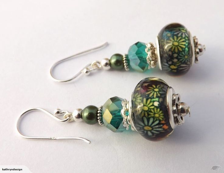 Green & Teal Floral Acrylic Bead Earrings | Trade Me