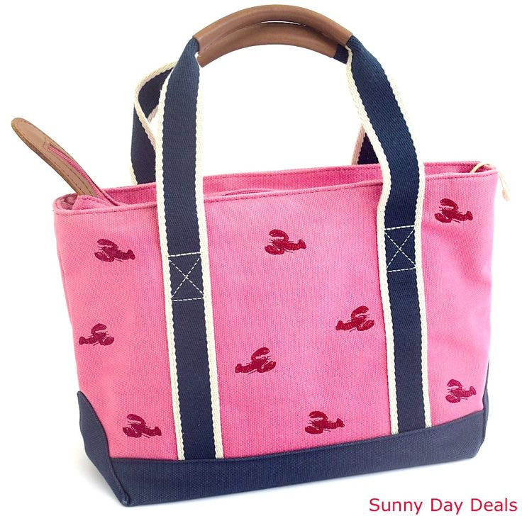 LL Bean Tote Canvas Leather Lobster Pink Camden Embroidered Bag 0CFQ9 Zipper Red #LLBean #TotesShoppers