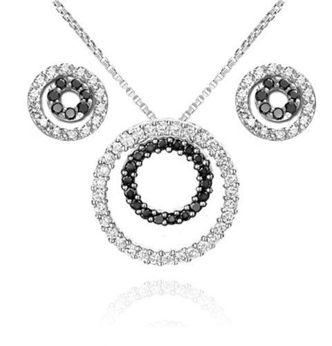"Sterling Silver 925 Sparkling Micro-pave Black and Clear Cubic Zirconia Round Pendant Necklace and Stud Earrings Set Sterling Silverado. $29.99. Pendant Necklace and Stud Earrings. Model # JE0146. Sterling Silver. Necklace Length: 18"" Box Chain. Micro-pave Black and Clear Cubic Zirconia"