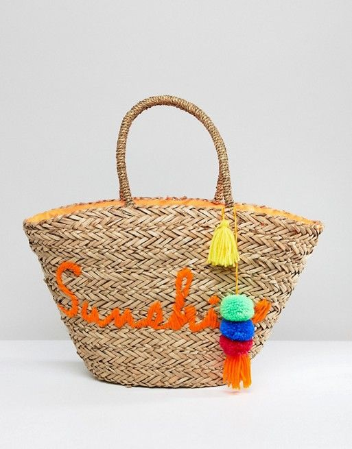 c60b3425f7 South Beach Sunshine Embroidered Straw Beach Bag in 2018