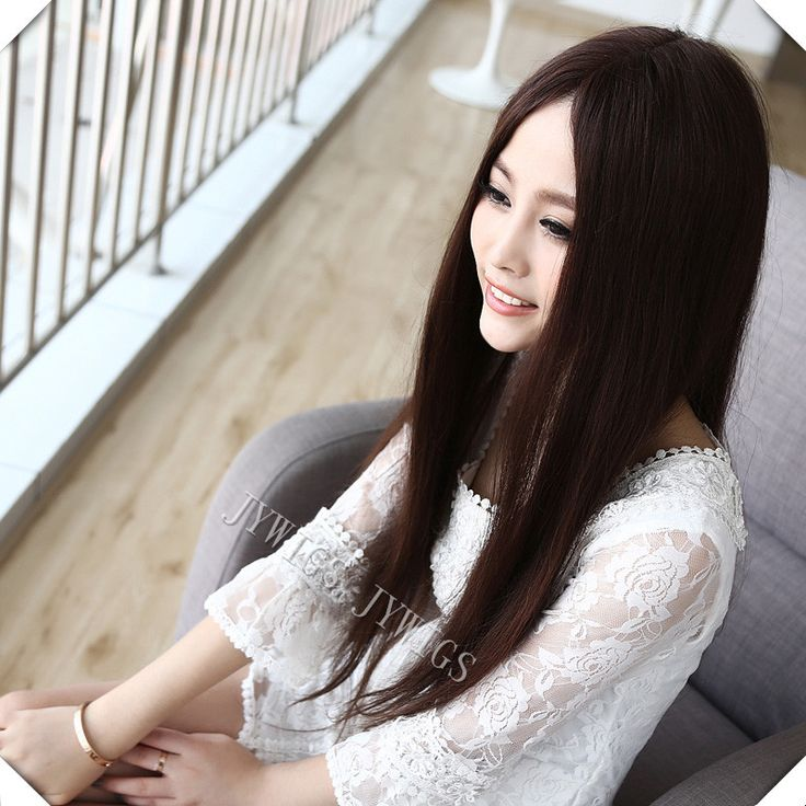 DIY Tails Middle Part Straight Wig Synthetic Women Long Brown Wig Mid-split Hair Middle Part Straight Wig