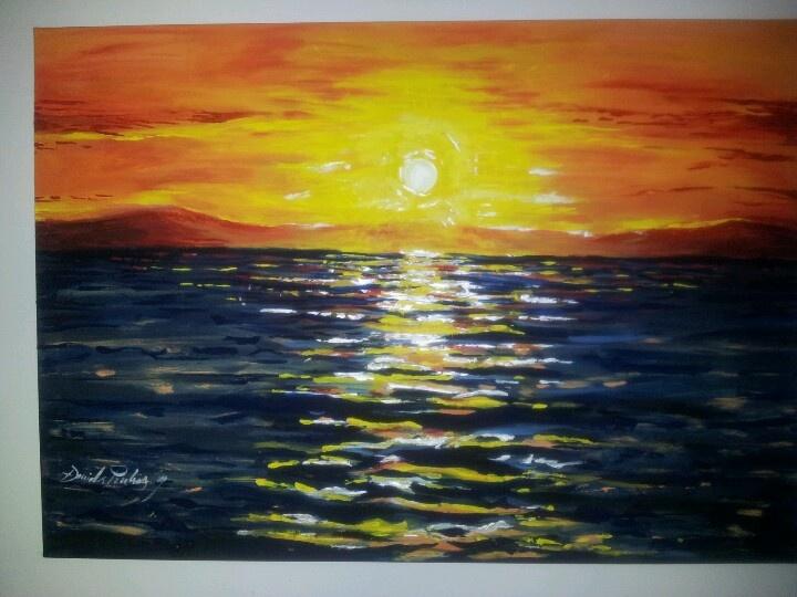 """Dipinto con acrilico """"panorama villasimius"""""""