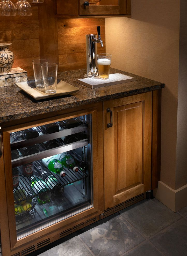 superb mini kegerator in home theater milwaukee with built in kegerator next to bar refrigerator alongside - Home Theatre Design Ideas