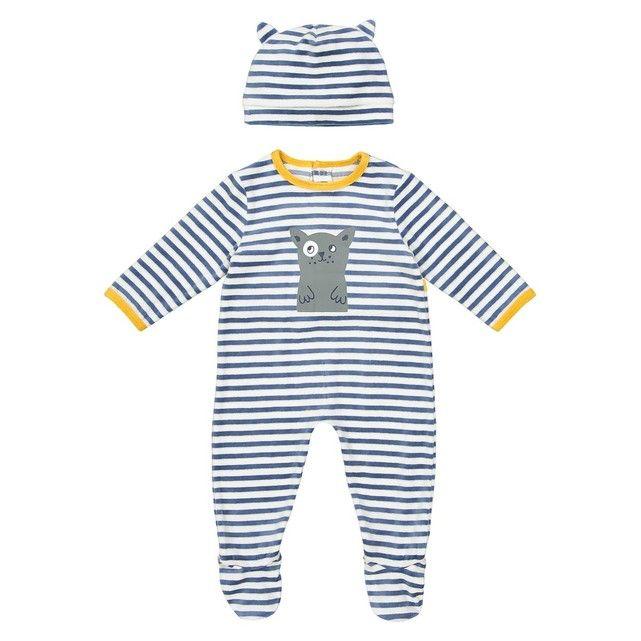 Pyjama rayé pressionné + bonnet 0 mois - 3 ans La Redoute Collections 96b39d85d6c