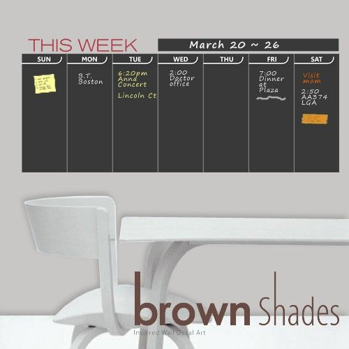 Wall Calendar : Chalkboard Weekly Planner - Wall Decal, Wall Chalkboard Decal.. $39.00, via Etsy.