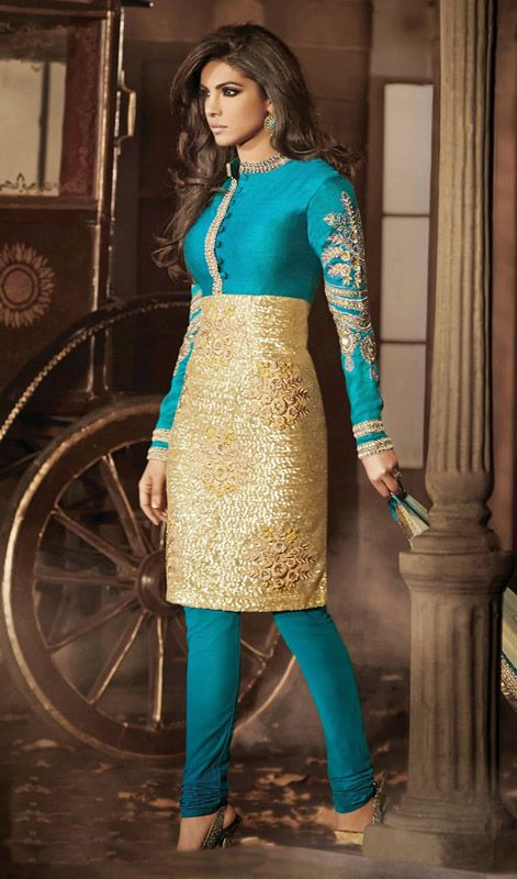 Make your fashion statement as Priyanka Chopra with this teal blue net churidar suit. It is designed with resham, sequins and stones work. #PriyankachopraCollection