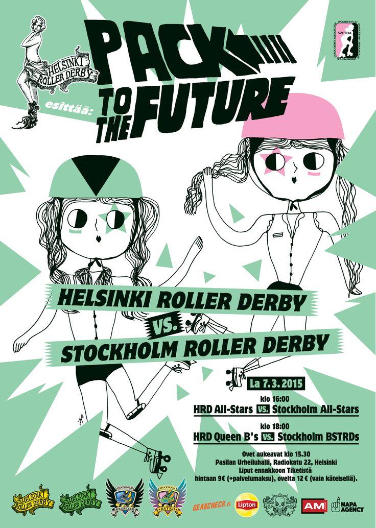 Helsinki Roller Derby poster by Jenni Tuominen