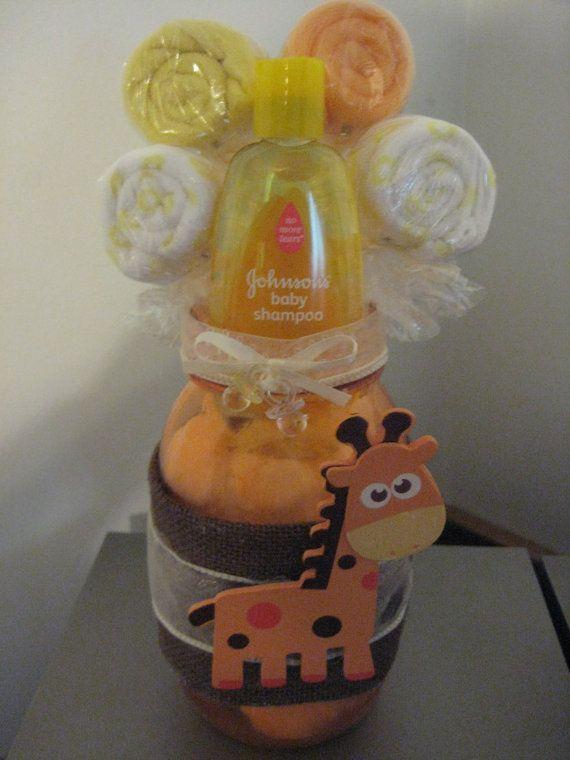 baby shower giraffe mason jar centerpiece washcloth by mybarbieart