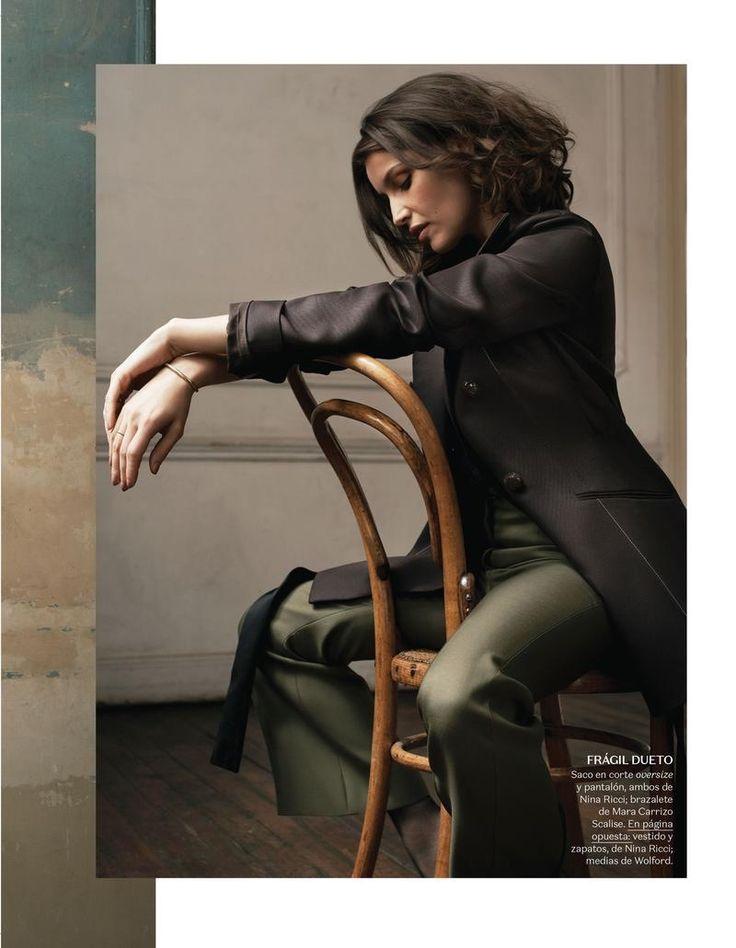 Laetitia Casta wears Nina Ricci oversized jacket and pants