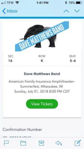 #tickets (2) DAVE MATTHEWS BAND Tickets, Summerfest (Milwaukee) 7/1 ,Sec 16 Row K - 5 please retweet