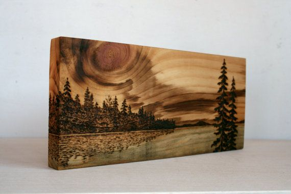 Sunset Art Block Wood burning by TwigsandBlossoms on Etsy