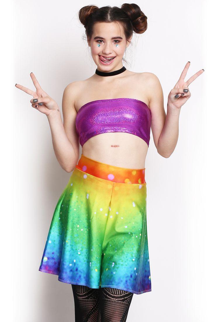 Rainbow Glitter High Waist Shorts - $30.00 AUD
