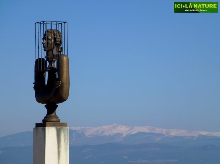 The statue of the Marquis de Sade and the Mont-Ventoux....  http://icietlanature.com/tour/3-self-guided-tour-in-provence-and-luberon