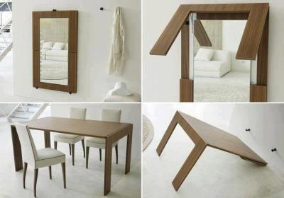 Aqui a mesa fica embutida na parede em forma de espelho, que dá impressão de ambiente maior.