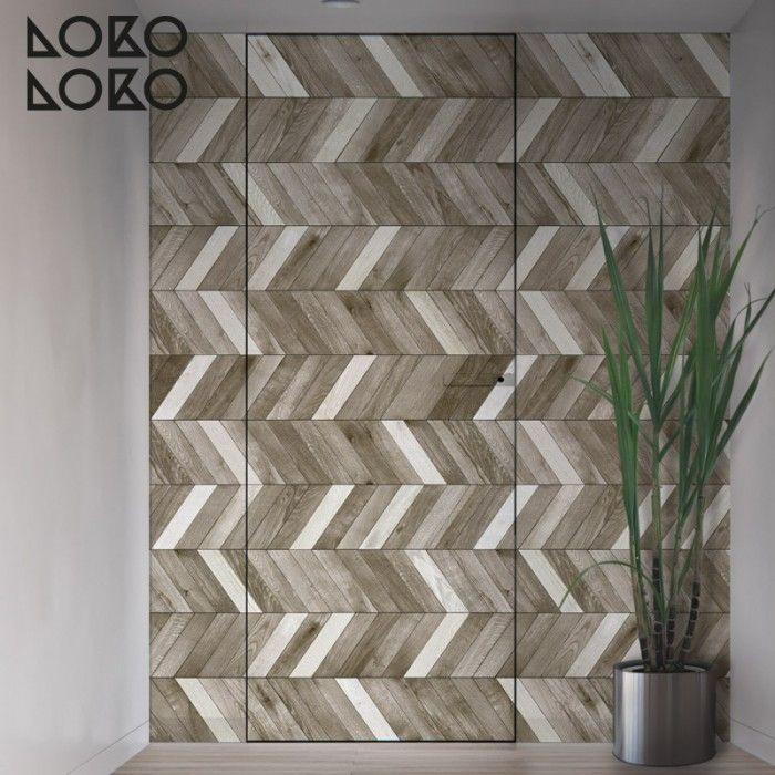 Vinilo con diseño de maderas en espiga combinada para forrar puertas de armarios y dormitorios #lokolokodecora