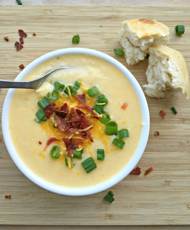 Loaded Cauliflower and Cheddar Cheese Soup- friendly on the figure and so so good! Great lunchtime option.