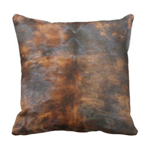 Cowhide, Simulated Leather Look, Brown/Black Throw Pillow