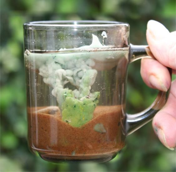 A volcano in a mug.  Neat idea to show kids how they work.  Much more accurate than the old baking soda/vinegar idea.