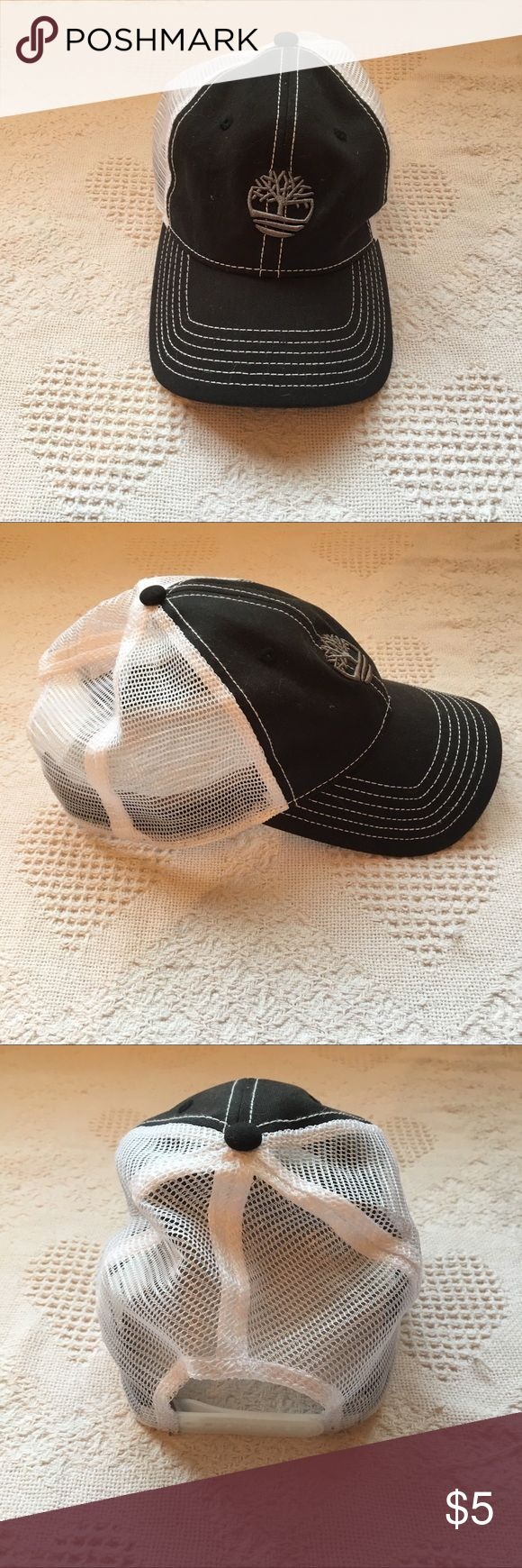 Timberland Black and White Decal Snapback Hat - Adjustable - Mesh back Timberland Accessories Hats