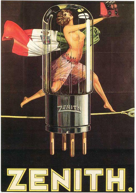 Vintage 1972 Art Deco Semi Nude Woman w Zenith Radio Tube Poster Illustration Bookplate Print for Framing
