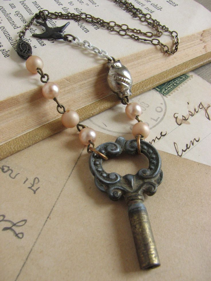 Pastel Vintage Key Necklace whimsical assemblage by