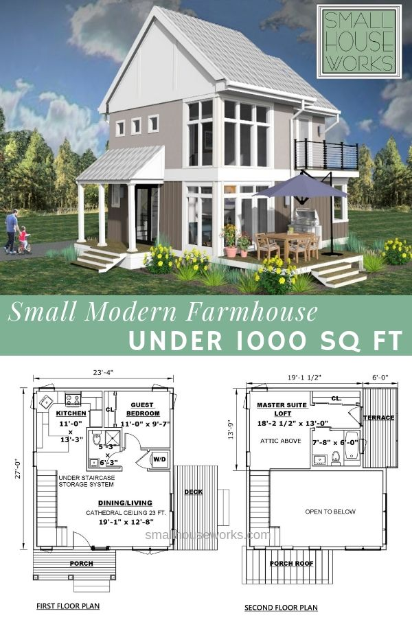 Small Modern Farmhouse Under 1 000 Sq Ft Small Farmhouse Plans Affordable House Plans Small Cottage Plans