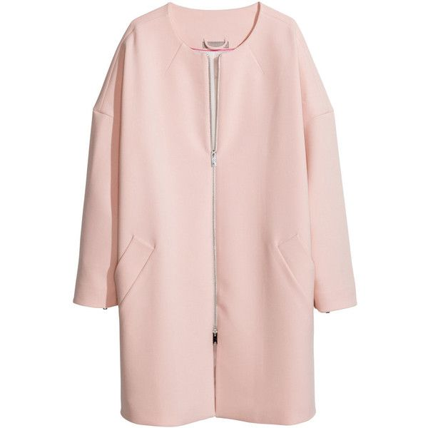H&M+ Coat ($53) ❤ liked on Polyvore featuring outerwear, coats, jackets, tops, plus size, powder pink, womens plus coats, h&m coats, pink coat and womens plus size coats