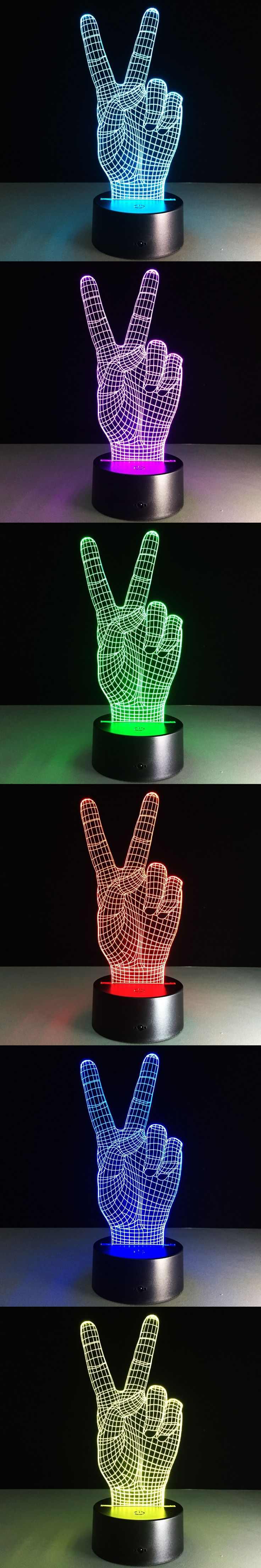 3D LED Hand Victory Light Colorful Touch Visual Lamp Decoration Atmosphere hologram illusion Table Lamp Micro USB Mood Bulbing