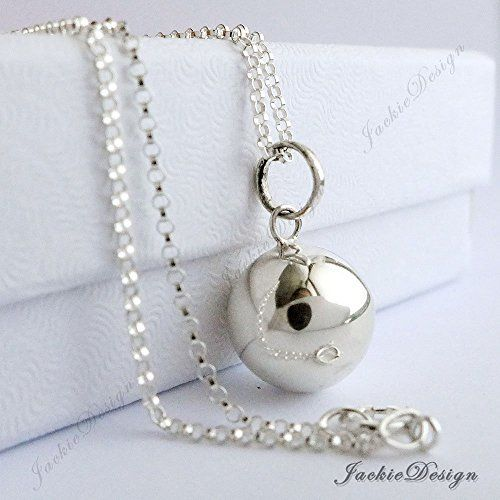 """12mm Small Calming Chime Sound Harmony Ball Sterling Silver Pendant 16"""" Chain Necklace AZ71"""