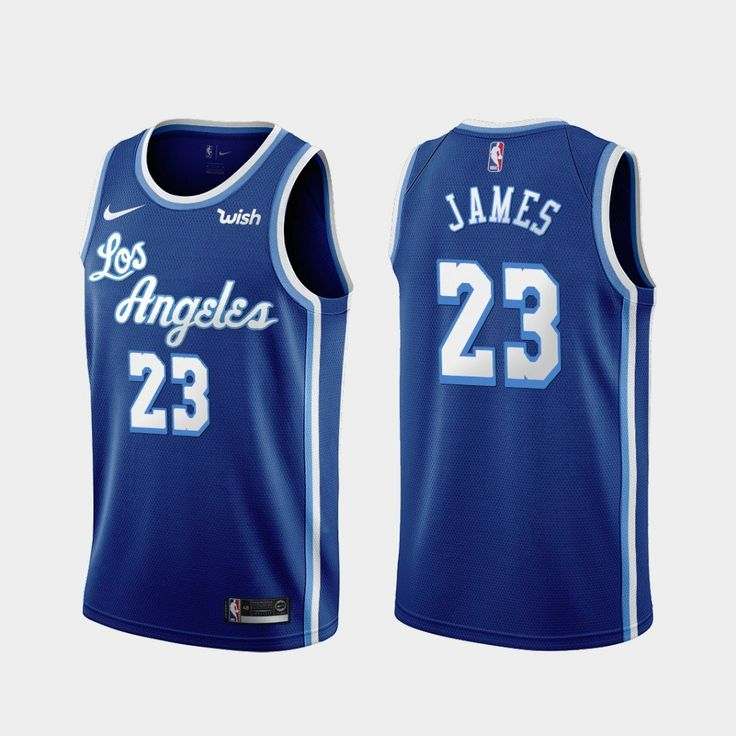 Men 23 Lebron James Jersey Blue Los Angeles Lakers Swingman Jersey ...