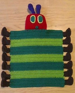 This lovey can be made as a bee or caterpillar. The head, feet and antennae can be stuffed with any type of noise makers ( bell, cat ball, plastic bags, etc.) to make it more fun.  $3.00