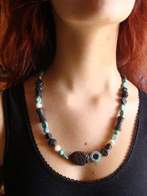 foto hand made jewels  Φωτεινή Μάμαλη: Κολιέ με λάβες, τυρκουάζ και πέρλες   Επικοινωνία fotinimamali@yahoo.gr