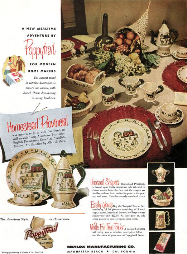 Poppytrail Homestead Provincial ALLEN SHAW Metlox Manhattan Beach 1950 Print Ad #Metlox  sc 1 st  Pinterest & 48 best Dinnerware Ephemera images on Pinterest | Dinner ware ...
