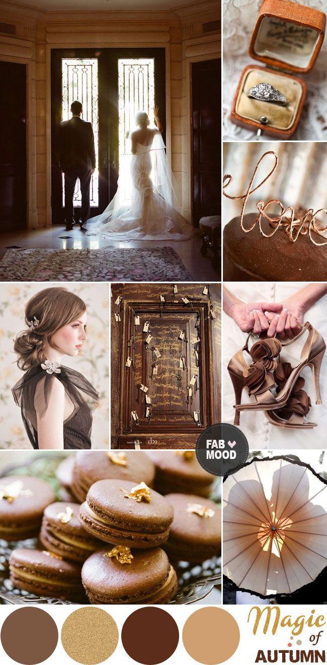 Brown & Gold Autumn Wedding Colour Palette, Autumn/fall brown gold wedding board inspiration | fabmood.com