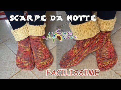 Scarpe da Notte SEMPLICISSIME all'Uncinetto SENZA diminuzioni   How to crochet socks - YouTube
