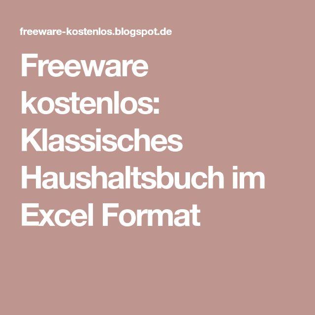 Freeware kostenlos: Klassisches Haushaltsbuch im Excel Format