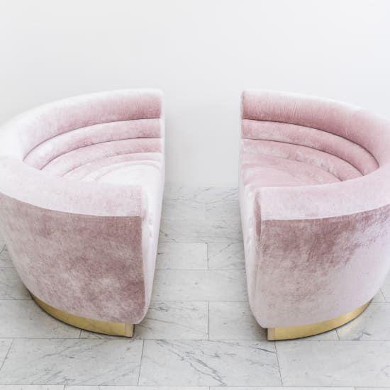 The Living Room No Sugar: Todd Merrill Sugar Bowl Settee, Pink Sofa Design Miami