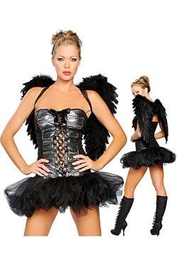 肉感的な漆黒の堕天使女性コスチューム
