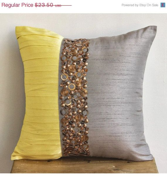 Light Grey Pillow Cases, Square Pintucks And Sequins Antique 16